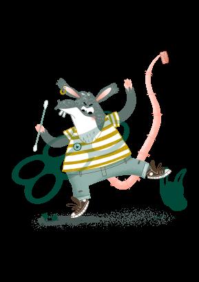 Pira de Rat heeft een plastick sixpackhouder om zijn nek